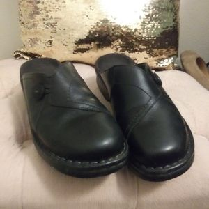 Black clarks mules leather